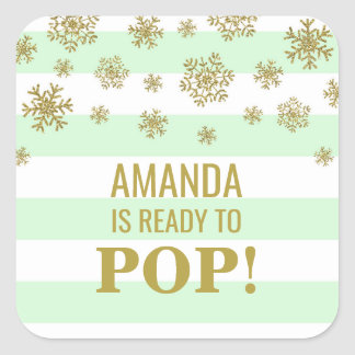 She's Ready to Pop Mint Stripes Gold Snow Square Sticker