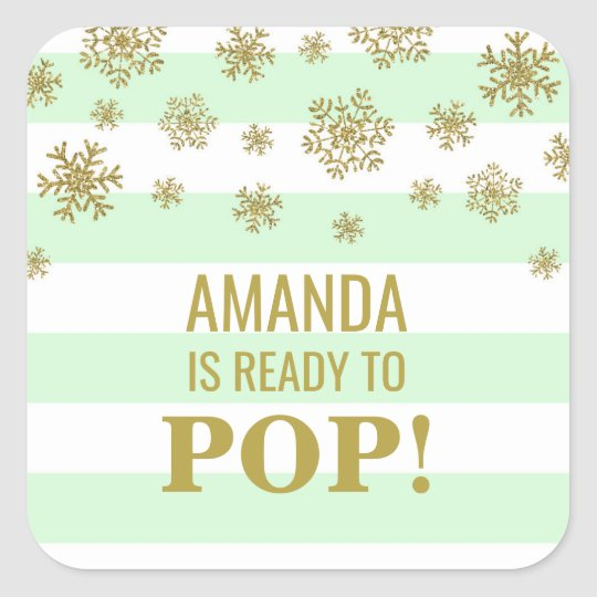 She's Ready to Pop Mint Stripes Gold Snow Square Sticker