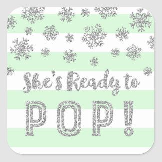 She's Ready to Pop Mint Stripes Silver Snow Square Sticker
