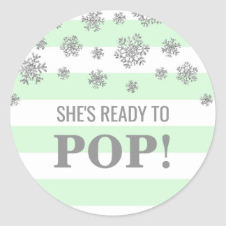 She's Ready to Pop Mint Stripes Silver Snowflakes Classic Round Sticker