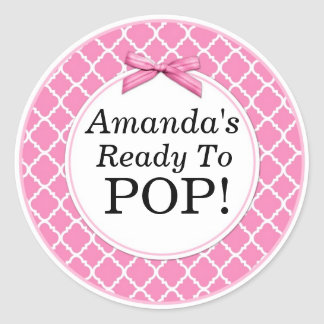 She's Ready to Pop, Pink QuatraFoil Baby Shower Classic Round Sticker