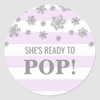 She's Ready to Pop Purple Stripe Silver Snowflakes Classic Round Sticker