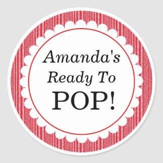 She's Ready to Pop, Red Stripes Baby Shower Classic Round Sticker
