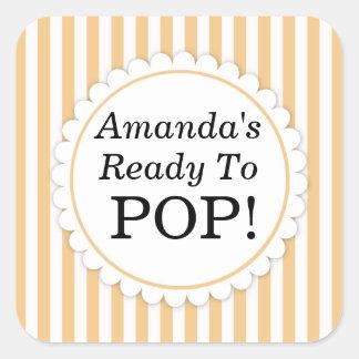 She's Ready to Pop Square sticker - Orange Stripes