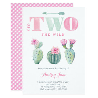 She's TWO wild 2nd birthday cacti invites for girl