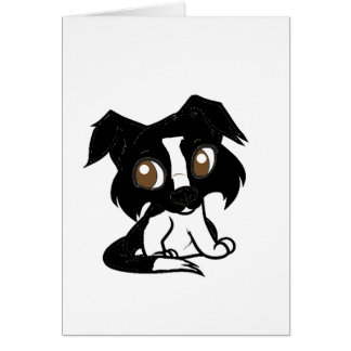 shetland black and white cartoon card