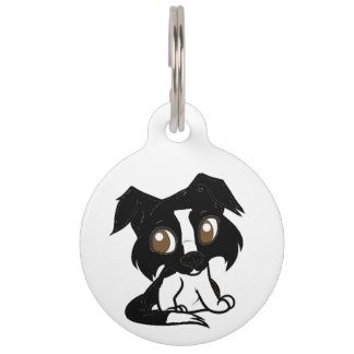 shetland black and white cartoon pet name tag