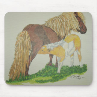 Shetland mare and foal mouse pad