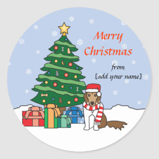 Shetland Sheepdog and Christmas Tree Classic Round Sticker