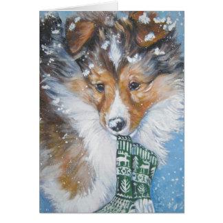 shetland sheepdog christmas card
