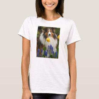 shetland sheepdog in flowers T-Shirt