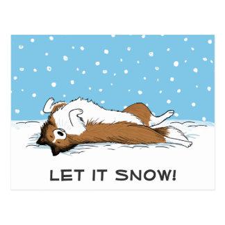 Shetland Sheepdog Let it Snow - Cute Dog Holiday Postcard