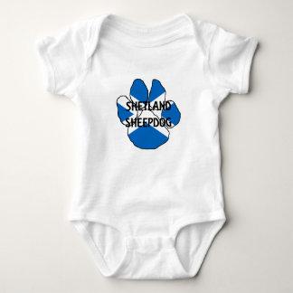 shetland sheepdog name Scotland flag paw Baby Bodysuit