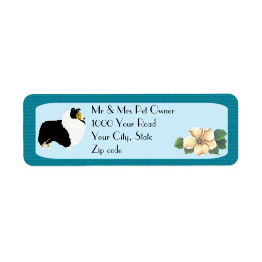 Shetland Sheepdog on Turquoise Floral Return Address Label