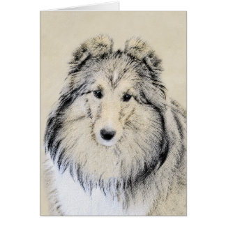 Shetland Sheepdog Painting - Cute Original Dog Art Card