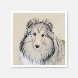 Shetland Sheepdog Painting - Cute Original Dog Art Disposable Serviette