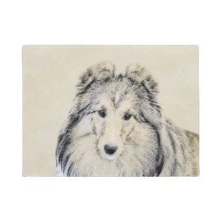 Shetland Sheepdog Painting - Cute Original Dog Art Doormat