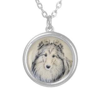 Shetland Sheepdog Painting - Cute Original Dog Art Silver Plated Necklace