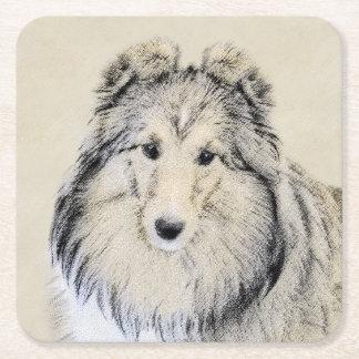 Shetland Sheepdog Painting - Cute Original Dog Art Square Paper Coaster