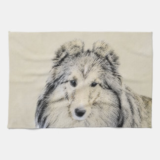 Shetland Sheepdog Painting - Cute Original Dog Art Tea Towel