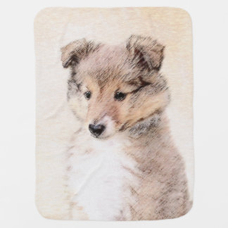 Shetland Sheepdog Puppy Painting Original Dog Art Baby Blanket