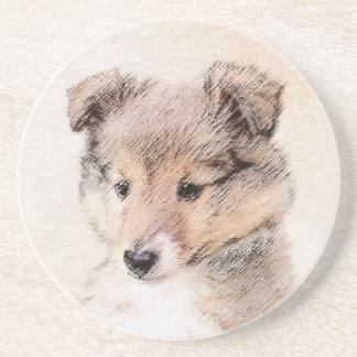 Shetland Sheepdog Puppy Painting Original Dog Art Coaster