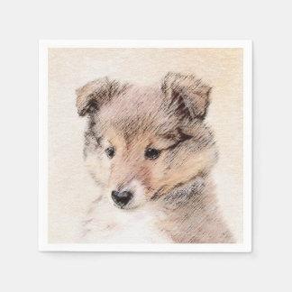 Shetland Sheepdog Puppy Painting Original Dog Art Disposable Napkin