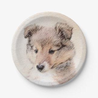 Shetland Sheepdog Puppy Painting Original Dog Art Paper Plate