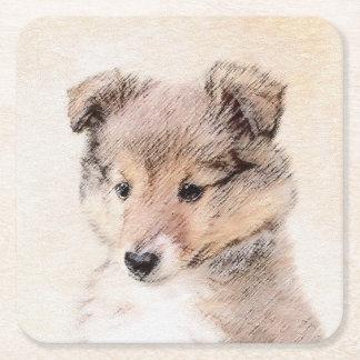 Shetland Sheepdog Puppy Painting Original Dog Art Square Paper Coaster