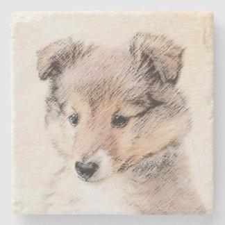 Shetland Sheepdog Puppy Painting Original Dog Art Stone Coaster