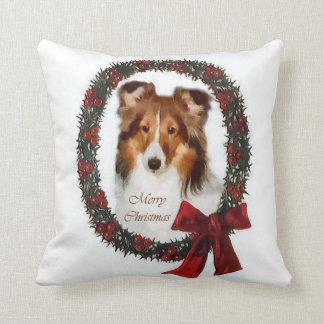 Shetland Sheepdog Sheltie Christmas Cushion