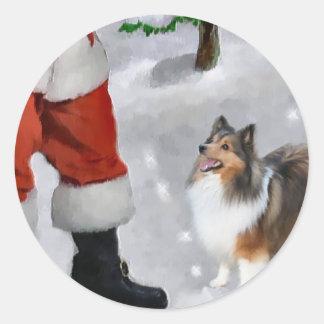 Shetland Sheepdog Sheltie Christmas Gifts Classic Round Sticker