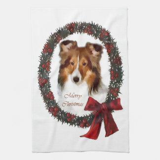 Shetland Sheepdog Sheltie Christmas Tea Towel