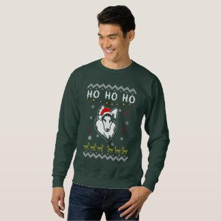 Shetland Sheepdog Sheltie Ugly Christmas Ho Ho Ho Sweatshirt