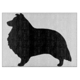 shetland sheepdog silo black cutting board