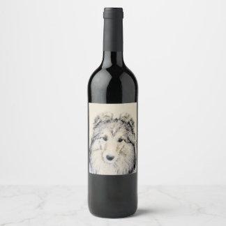 Shetland Sheepdog Wine Label