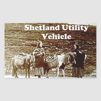 Shetland Utility Vehicle SUV Funny Vintage Photo Rectangular Sticker