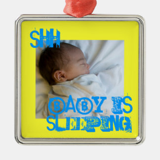 """""""Shh...(baby) is sleeping"""" Premium Doorknob Hanger Silver-Colored Square Decoration"""