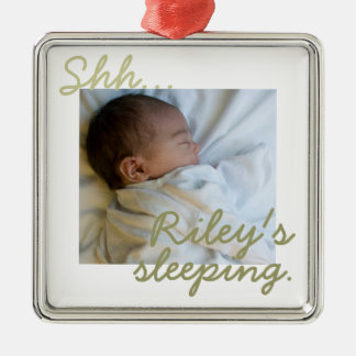 """Shh...(baby) is sleeping"" Premium Doorknob Hanger Silver-Colored Square Decoration"