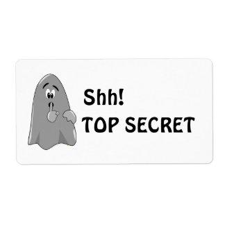 Shh Cartoon Ghost Top Secret Halloween Shipping Label