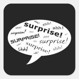 shh it's a surprise party comic bubble square sticker