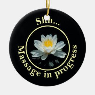 Shh... Massage in progress Round Ceramic Decoration