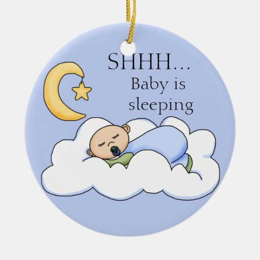 Shhh Baby Sleeping Door Hanger Christmas Tree Ornaments