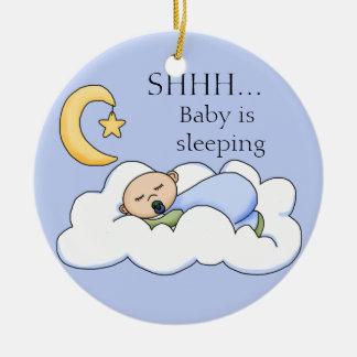 Shhh Baby Sleeping Door Hanger Round Ceramic Decoration