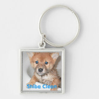 Shiba Clean Silver-Colored Square Key Ring