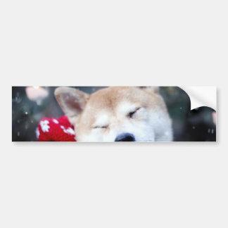 Shiba dog - doge dog - merry christmas bumper sticker