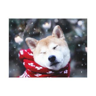 Shiba dog - doge dog - merry christmas canvas print