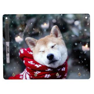 Shiba dog - doge dog - merry christmas dry erase board with key ring holder