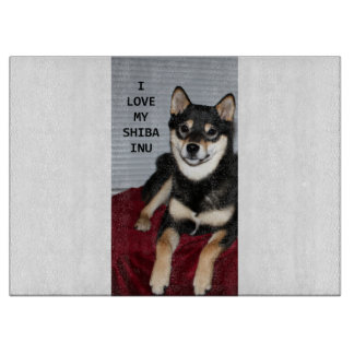 shiba full black and tan love w pic cutting board