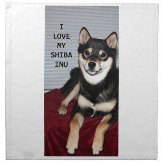 shiba full black and tan love w pic napkin